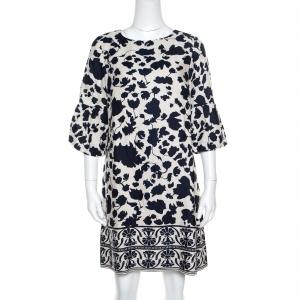 CH Carolina Herrera Blue and Cream Floral Printed Linen Flounce Sleeve Tunic Dress M - used