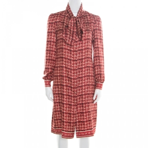 CH Carolina Herrera Red Abstract Printed Silk Button Front Tunic Dress S used