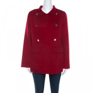 CH Carolina Herrera Red Wool Pea Coat M