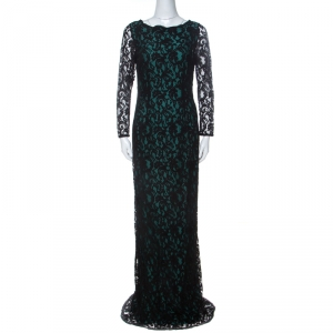CH Carolina Herrera Green and Black Lace Long Sleeve Gown M - used
