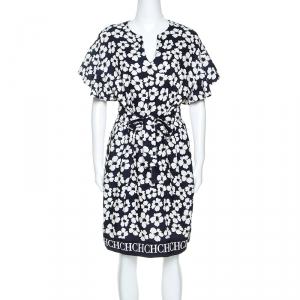 CH Carolina Herrera Navy Blue Floral Print Silk and Linen Blend Dress M - used