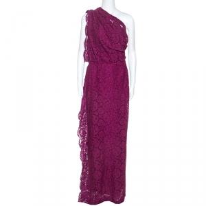 CH Carolina Herrera Magenta Lace Draped Detail One Shoulder Dress M - used