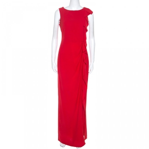 Carolina Herrera Red Crepe Ruffled Detail Sleeveless Maxi Dress S - used