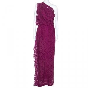 CH Carolina Herrera Purple Lace One Shoulder Maxi Dress M - used