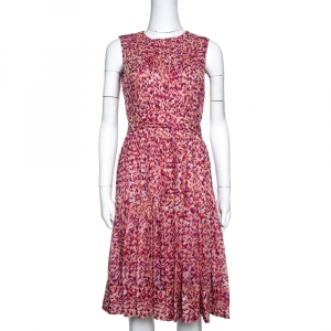 CH Carolina Herrera Fuschia & Orange Abstract Printed Silk Pleated Dress S - used