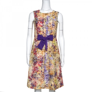 CH Carolina Herrera Multicolor Abstract Printed Textured Cotton A Line Dress S - used