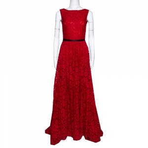 CH Carolina Herrera Red Lace Bow Detail Sleeveless Gown S - used
