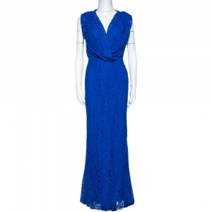 CH Carolina Herrera Cobalt Blue Floral Lace Draped Gown S - used