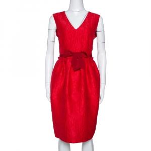 CH Carolina Herrera Red Floral Embossed Jacquard Sleeveless Dress M - used