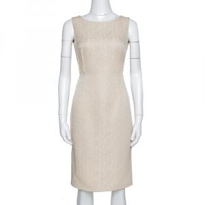 CH Carolina Herrera Beige Textured Sleeveless Sheath Dress S - used