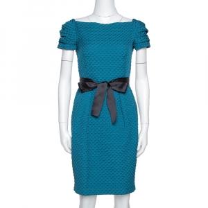 CH Carolina Herrera Teal Houndstooth Pattern Embossed Sheath Dress S - used