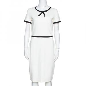 CH Carolina Herrera Off White Jersey Bow Detail Sheath Dress S used