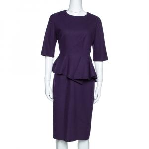 CH Carolina Herrera Purple Wool Peplum Dress L - used