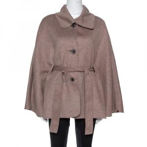 معطف سي أتش كارولينا هيريرا بحزام كشمير و صوف رصاصي بني مقاس صغير جداً (اكس سمول)