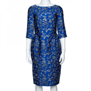 CH Carolina Herrera Cobalt Blue Floral Jacquard Sheath Dress S