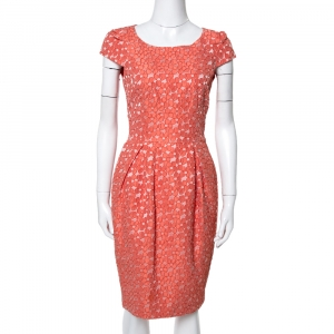 CH Carolina Herrera Orange Floral Jacquard Sheath Dress S