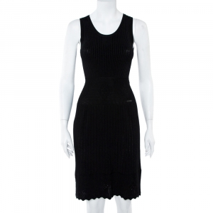 CH Carolina Herrera Black Rib Knit Scoop Neck Fit & Flare Dress S - used