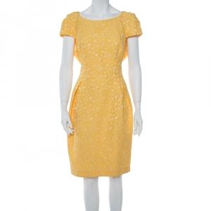 CH Carolina Herrera Yellow Floral Jacquard Sheath Dress XL - used
