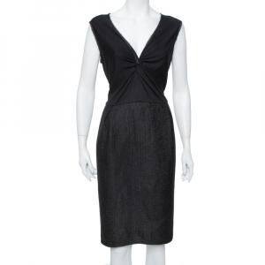 CH Carolina Herrera Black Lurex Tweed Knot Detail Midi Dress XL - used