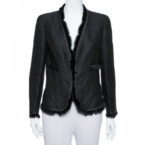 CH Carolina Herrera Black Lurex Tweed Faux Fur Detail Jacket L