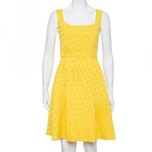 CH Carolina Herrera Yellow Embossed Jacquard Pleated Sleeveless Midi Dress M - used