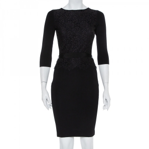CH Carolina Herrera Black Knit Floral Lace Overlay Long Sleeve Belted Dress S - used
