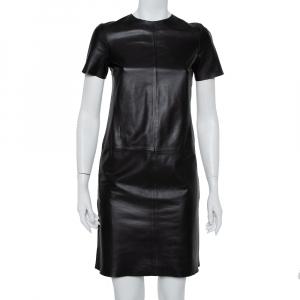 CH Carolina Herrera Black Leather Paneled Mini Dress S