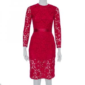 CH Carolina Herrera Fuchsia Pink Lace Belted Sheath Dress XS - used