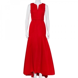 CH Carolina Herrera Red Tricot Mesh Sleeveless Gown S - used