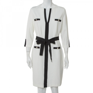 CH Carolina Herrera White Knit Contrast Trim Detail Belted Midi Dress L - used