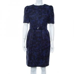 CH Carolina Herrera Purple & Black Jacquard Belted Mini Dress M - used