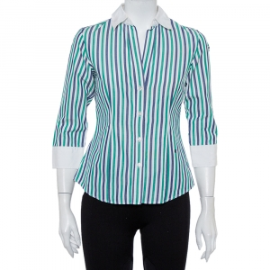 CH Carolina Herrera Multicolor Striped Cotton Button Front Shirt S