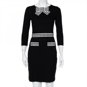 CH Carolina Herrera Black Knit Striped Trim & Bow Detail Mini Dress XS - used