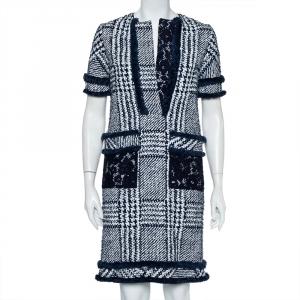 CH Carolina Herrera Indigo Painted Tweed Lace Detail Shift Dress S - used