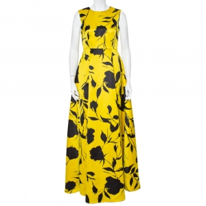 CH Carolina Herrera Yellow Blooming Floral Printed Satin Sleeveless Evening Gown M