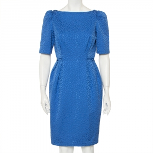 CH Carolina Herrera Blue Embossed Cotton Sheath Dress M