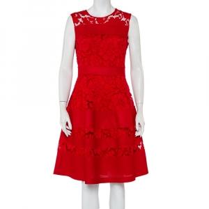 CH Carolina Herrera Red Lace & Mesh Paneled Sleeveless Mini Dress M - used