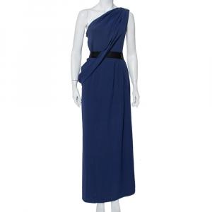 CH Carolina Herrera Blue Silk Embellished One Shoulder Belted Gown M - used
