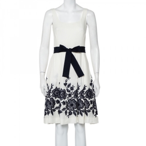 CH Carolina Herrera White Line Contrast Floral Embroidered Flared Belted Midi Dress S - used