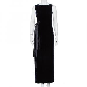 CH Carolina Herrera Midnight Blue Velvet Bow Detail Sleeveless Maxi Dress S - used