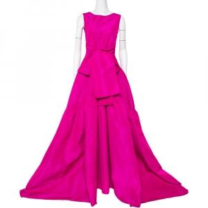 CH Carolina Herrera Magenta Taffeta Bow Tie Detail Asymmetric Hem Gown M - used