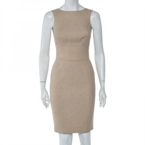 CH Carolina Herrera Beige Wool Sleeveless Sheath Dress S - used