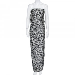 CH Carolina Herrera Monochrome Floral Jacquard Bow Detail Strapless Gown L - used