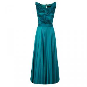 CH Carolina Herrera Green Ruffle Silk Gown M used