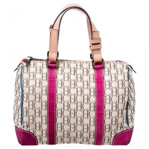 Carolina Herrera Beige/Pink Monogram Canvas/Suede and Leather Andy Boston Bag