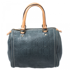 Carolina Herrera Dark Green Monogram Leather Andy Boston Bag