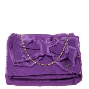 Carolina Herrera Purple Fabric Bow Chain Clutch