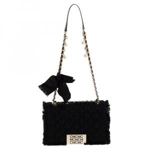 Carolina Herrera Black Tweed and Fabric Faux Pearl Embellished Shoulder Bag