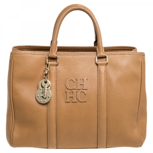 Carolina Herrera Beige Pebbled Leather Medium Matteo Tote