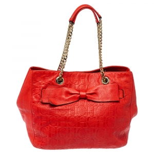 CH Carolina Herrera Red Monogram Leather Audrey Tote